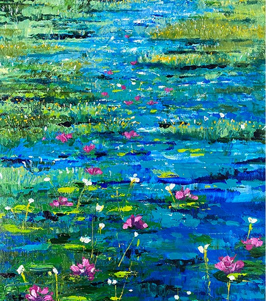 Pink Waterlilies (small) - Acrylic and Ink on Stretched Canvas $250